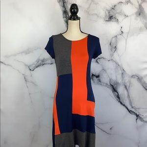 Cremieux color block stretch knit dress size xs